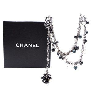 Chanel Silver Cc Tasseled Chain Bead Necklace
